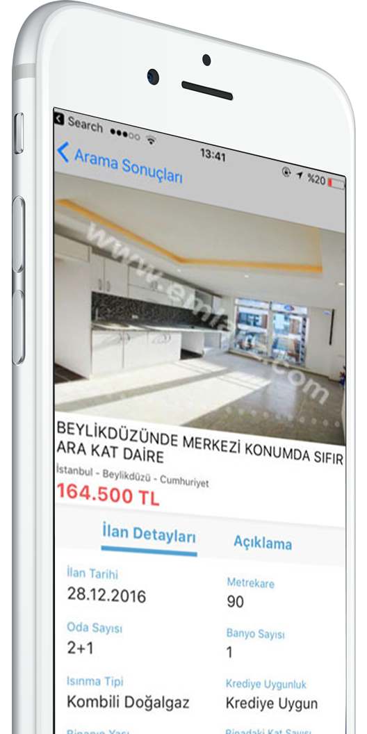 A screenshot of the Emlakz app, designed by Smartapps.